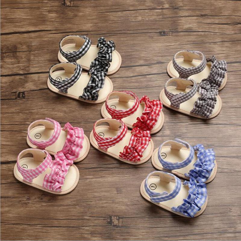 New Summer Flower Plaid Baby Girls Sandals Cute Princess Party Infant Toddler Shoes Soft Breathable Baby Girl Shoes Chaussure