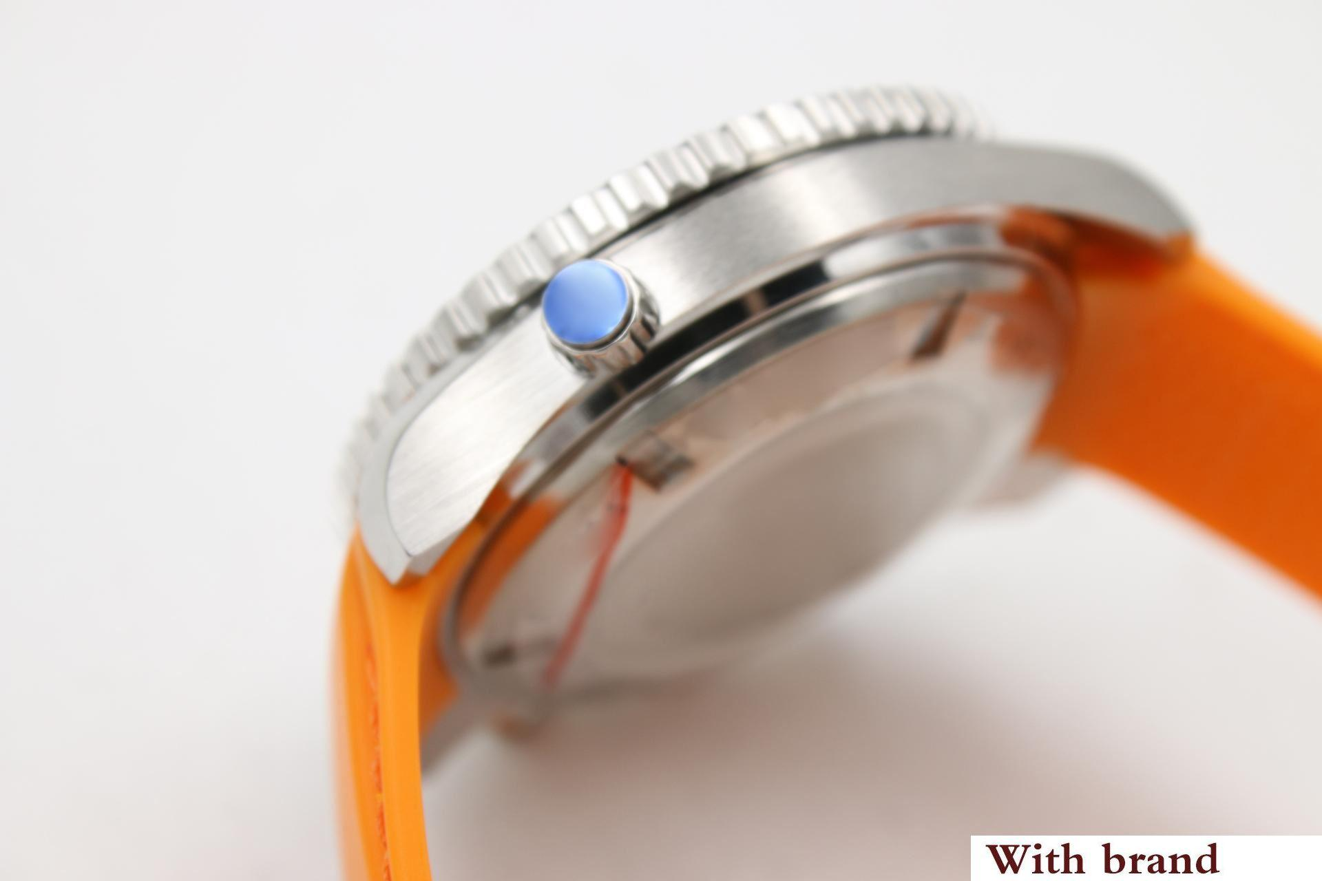 luxury men's quartz movement hippocampus series 23232422101001 orange rubber strap oneway rotating bezel master watch
