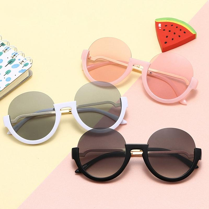 2020 Children Round Sunglasses Kids Half-frame Round Colorful Sunglasses Girls Boys Trend Alloy Frame Child Fashion Glasses