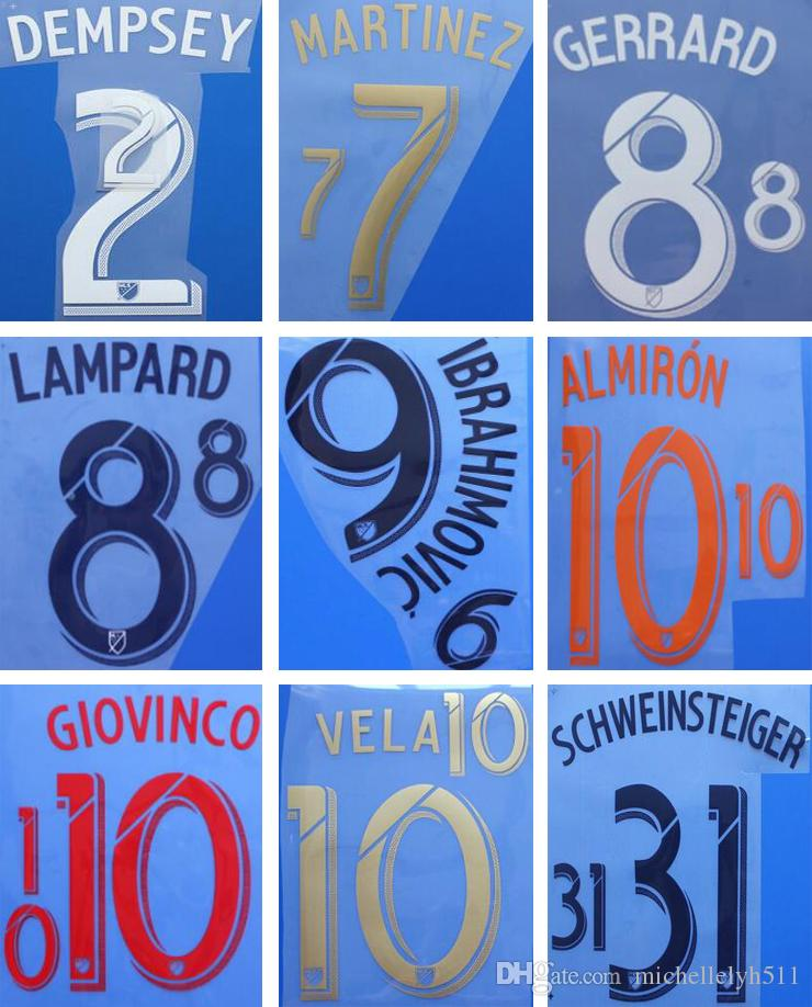 18 19 Noms de football imprimés par MLS IBRAHIMOVIC VELA GERRARD LAFC estampant des autocollants de football DEMPSEY LAMPARD LA Galaxy lettrages imprimés