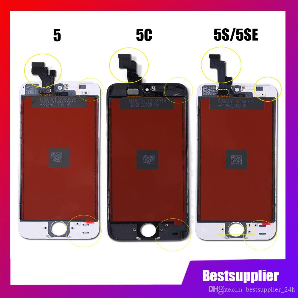 Grate quality for iPhone 5 IPHONE 5S Iphone 5C LCD Display Touch Screen Replacement Digitizer Ecran Pantalla LCD Assembly Black & White