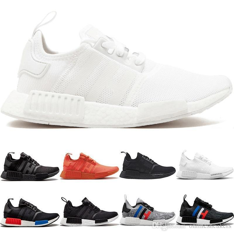 Nmd R1 Primeknit Running Shoes Men Women Triple Black White Og Classic Tri-color Grey Oreo Japan Red Sports Sneakers Size 5-11 Free Shipping