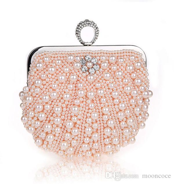 new Evening Bags Diamond Rhinestone Pearls Beaded Wedding Clutch Women's Purse Handbags Wallets Evening Clutch Bag bolsa