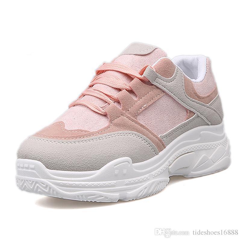 Zapatos de deporte de color rosa para las mujeres plataforma de moda casual zapatos de tabla pisos mujer cómodo suave zapatillas cestas plateforme femme