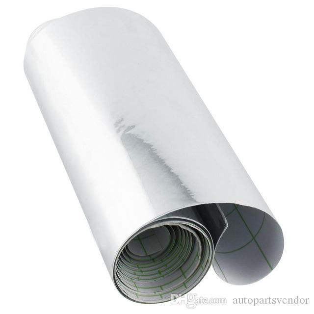 152 x 10 cm plata del cromo del coche a prueba de agua UV Protected hoja de etiquetas automático Espejo abrigo del vinilo de la película de la motocicleta de la etiqueta 4x60 pulgadas