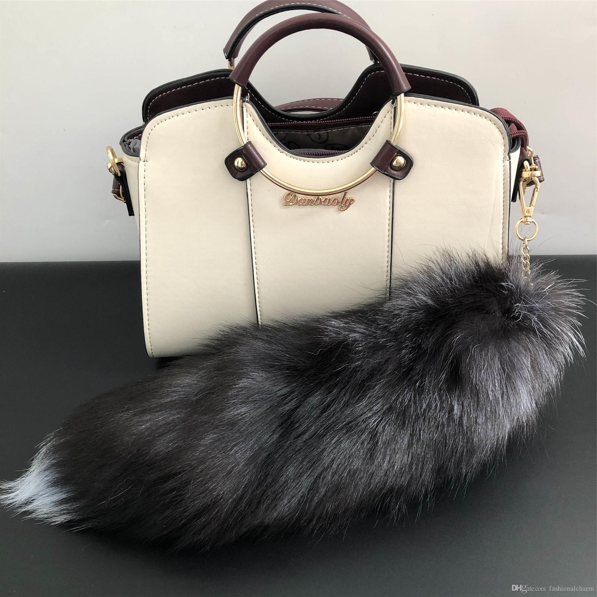 100% echt Silber Fuchs Pelz Schwanz Keychians Plüsch Pom Poms Frauen Geschenke Schlüsselanhänger Auto KeyChain Bag Charme