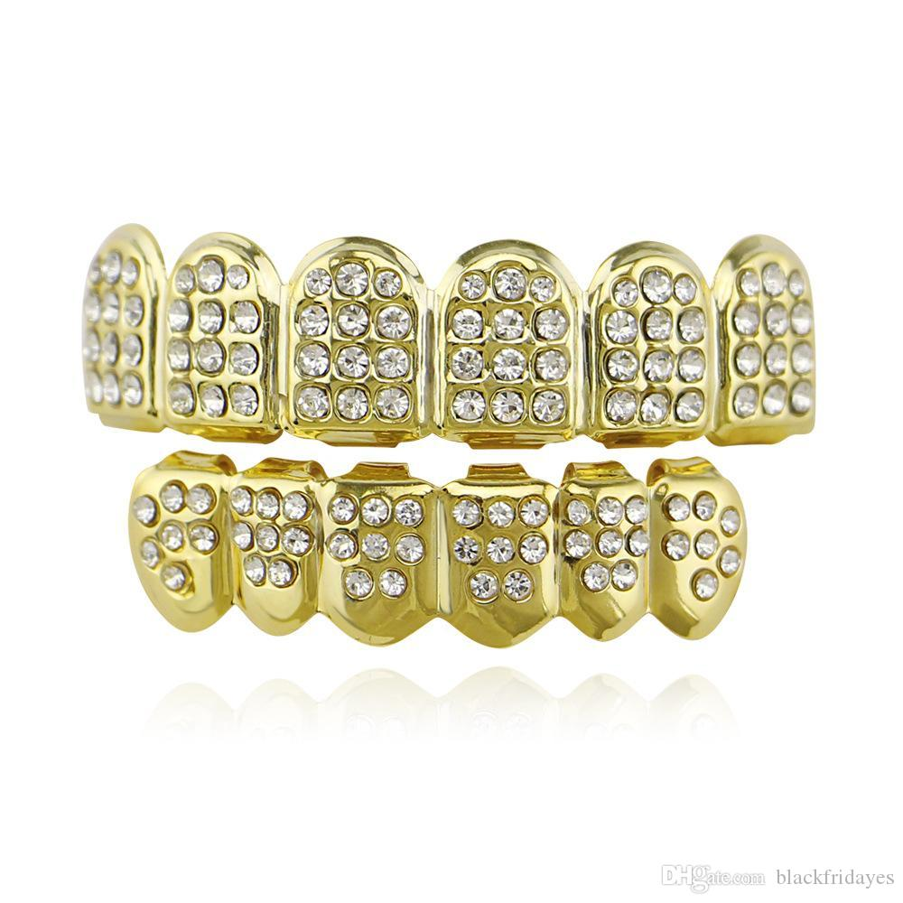 Beauty Cosmetic teeth Explosive Gold-plated Gold-plated Dentures Hip-hop Gold-plated Braces Hip-hop Jewelry Sets Dental sleeve Cover Snaps