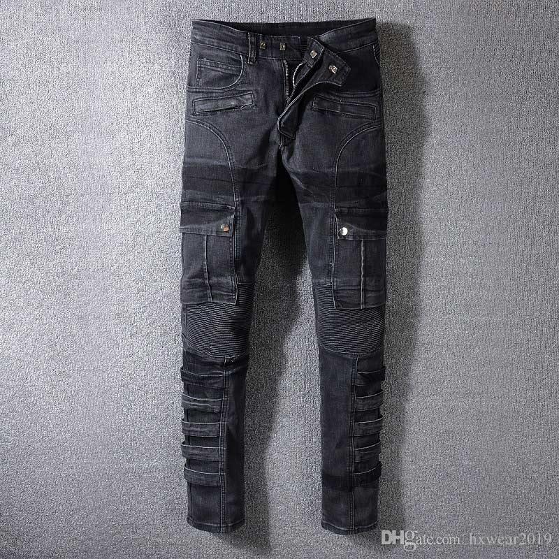 Détruit Biker Jeans Hommes de Designer Denim Jeans De Mode Mince Vintage Biker Jeans Casual Denim Pantalon Cargo dommages longue Moto pantalon