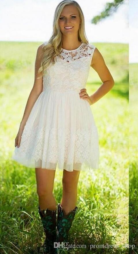 Free Shipping 2020 New Arrival Little Ivory Lace Bridesmaid Dresses A Line Jewel Neck Garden Short Homecoming Party Evening Cocktail Gowns