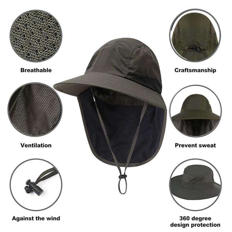 Caccia Caps ampio cofano Acqua Brim Leggero Cappello per il sole Accessori Abbigliamento sportivo Con sottogola resistente laccio Portable