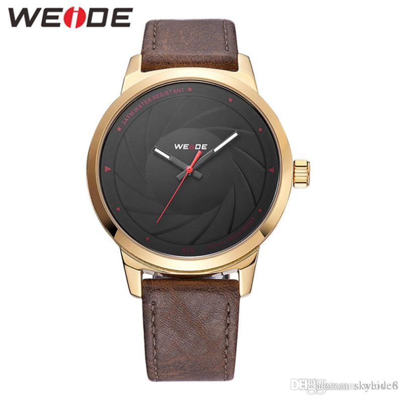 WEIDE -WD005 fashion brand men's business watch Japan quartz gold-plated watches 30M waterproof leather simple /casual / sports watch
