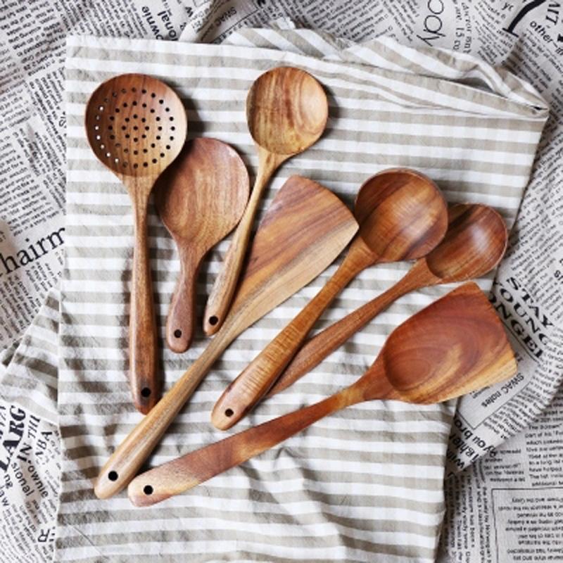 7pcs Spoon Wood Natural Set Tableware Kitchen Teak Wooden Cooking Soup Spoons