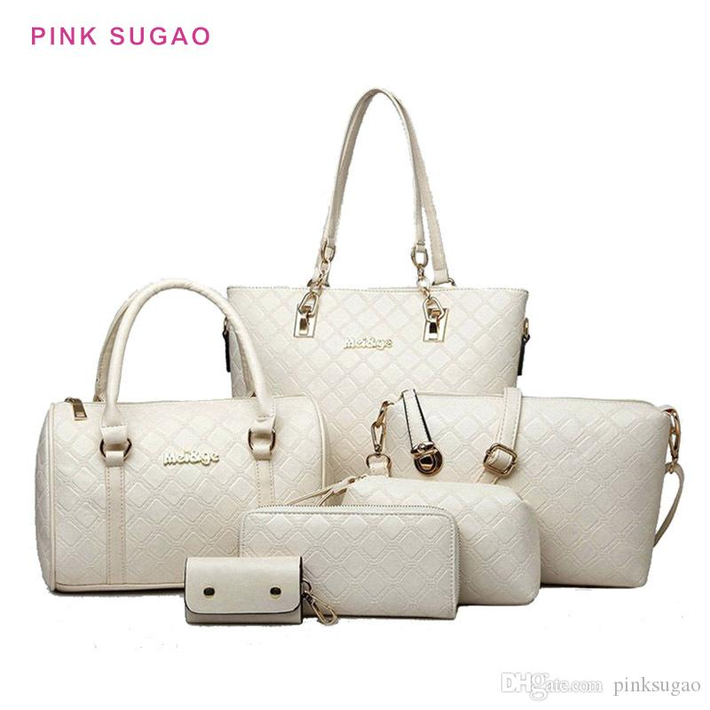 وردي مصمم sugao حقيبة يد المرأة جراب محفظة 5pcs / مجموعة بو جودة عالية حقيبة يد جلدية أكياس رسول حقيبة الكتف CROSSBODY