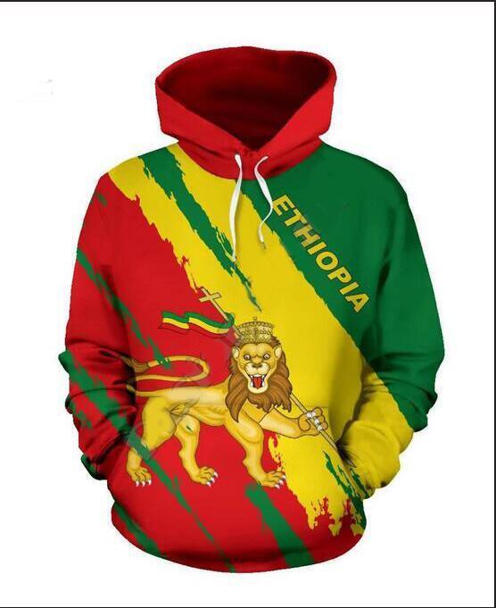 Neue Art und Weise Frauen / Mens Harajuku Art Äthiopien beiläufige gedruckte 3D-Crewneck Sweatshirts Unisex Sportwear Coat XZ0334