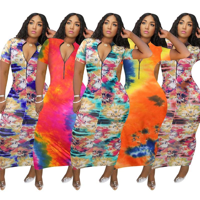 Femmes d'été moulante Robes sexy Contraste couleur Imprimé mi taille à manches courtes Zipper DesignDress Mode Femme Vêtements