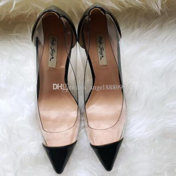 Free shipping Fashion women black patent leather PVC point toe shoes high heels thin heeled shoes pumps genuine leather 10cm Big size