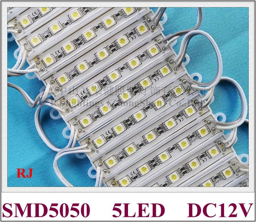 módulo de LED impermeável LED publicidade módulo de luz de carta de sinal SMD5050 5LED 0.24W / frete grátis 1.2W DC12V IP65 70lm levou