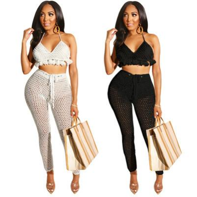 Women Clothing 2 Piece Set Fashion Stylist Quick-drying Suit Mesh Tassel Straps Bikini Sexy Pants Suit Sexy Slim Suits Summer New Hot Spring