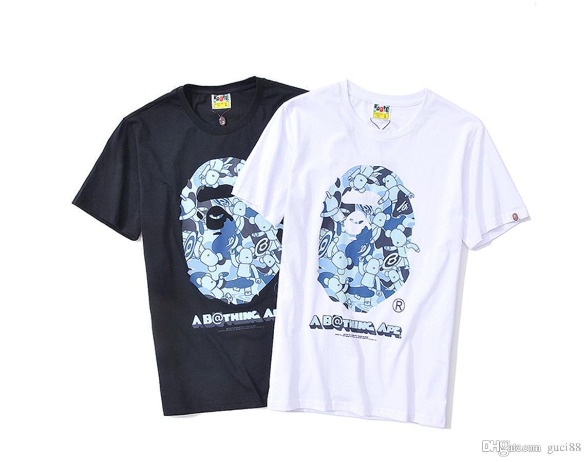 2018 Обезьяна мужские дизайнер футболки мультфильм футболка спортивная повседневная футболки пуловер свободные короткие рукава хип-хоп Белый купальный Aape Clothig