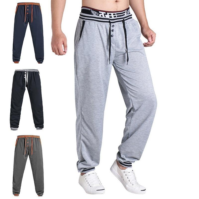 Shujin Artı boyutu 3XL Erkekler Bahar Gevşek Spor Şalvar Casual İpli Sweatpants Hip Hop Harem Pantolon T200507