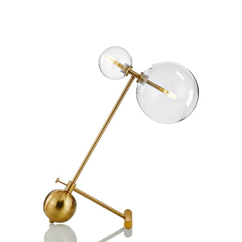 Nordic tavolo moderno e minimalista lampade per soggiorno tavolo bianco sfera di vetro ferro leggero vetro trasparente palla rotonda di lettura lampada da tavolo