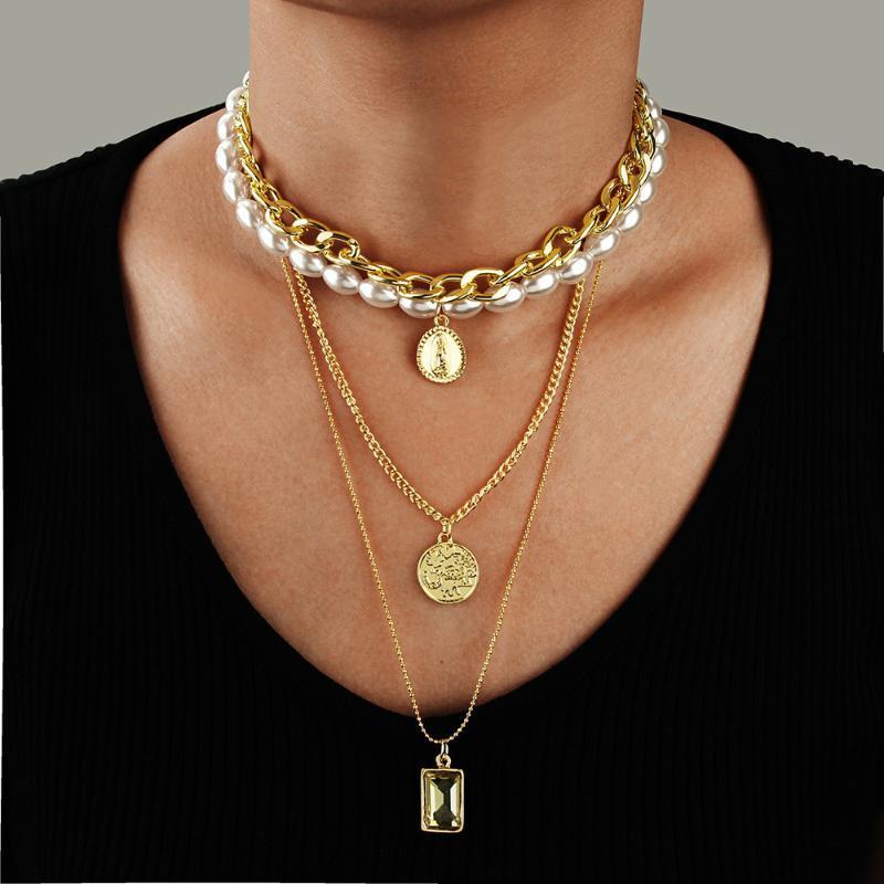 Populaire européens et américains Nouveaux accessoires Tout match multi-couche Collier de perles Femme Coin pendentif en cristal