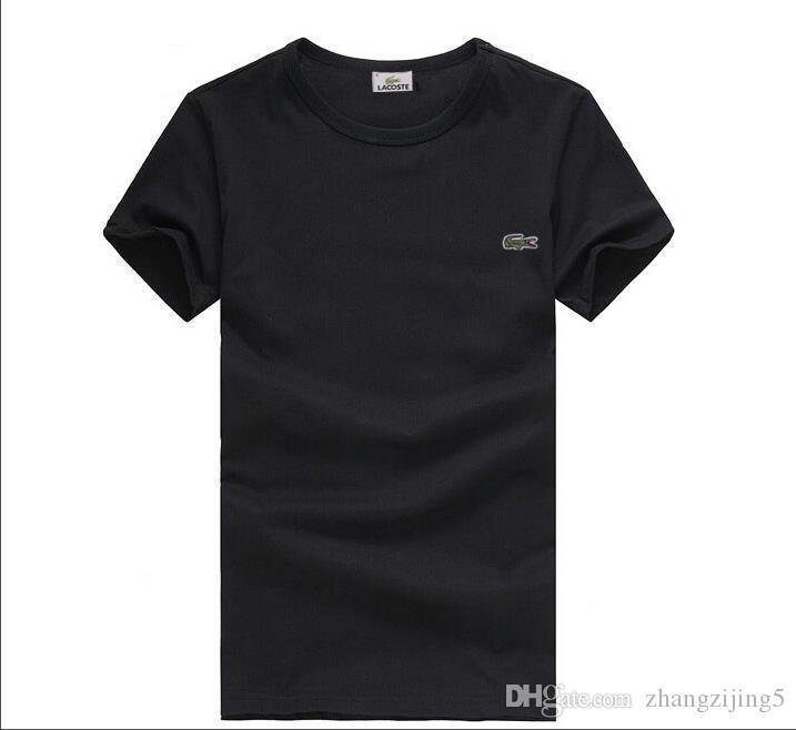 2019 Nuevo Algodón de alta calidad de cuero de cocodrilo O-collar de manga corta camiseta Marca Deluxes Diseñadores Hombres camiseta Ocio estilo Deportes hombres