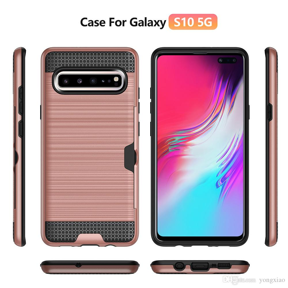 kart yuvası ile Samsung Galaxy S7 S8 S9 için Zırh Fırçalı Telefon Kılıfı artı S10 S10e 5G Not 9 10 A20 A30 Darbeye kapak