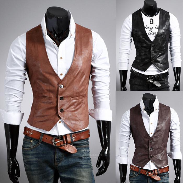 Üç Renk Serin Koleji Deri Ceket Erkek Siyah Pu Deri Kolsuz Erkek Slim Fit Ceket Marka Yelek Homme Erkek Giyim