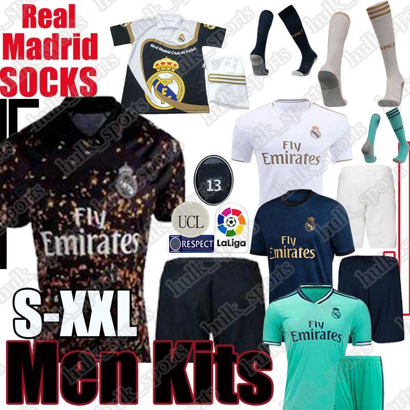 Real Madrid Jerseys 2019 2020 PERIGO Isco camisa de futebol Sergio Ramos MODRIC BALE futebol homens uniformes kit ASENSIO Camisetas meias adultos
