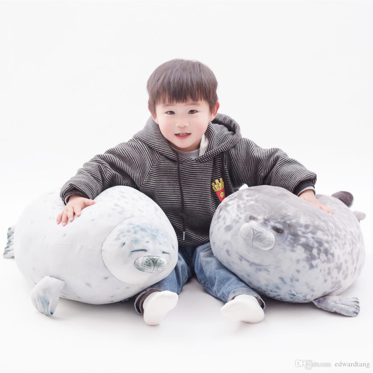 Cute 80cm Super Soft Sea Dog& Seals Doll Plush Toy, Down Cotton Bolster& Pillow, Ornament Xmas Kid, Girl Birthday Gift, Decoration 4-2