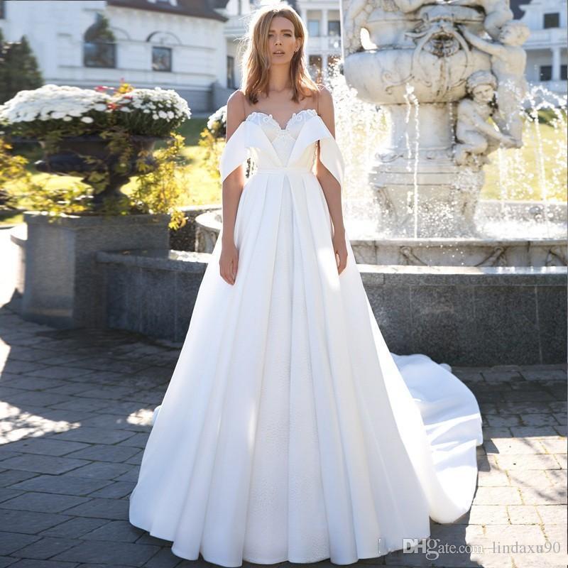 Smoothest 2019 атласные свадебные платья плюс размер v шея с плеча кружева свадебное платье свадебные платья Vestido de Novia