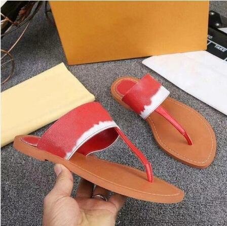kutusuyla Yeni kadın ESCALE PALMA DÜZ THONG ayakkabı bayan sandaletleri moda rahat terlik deri en kaliteli