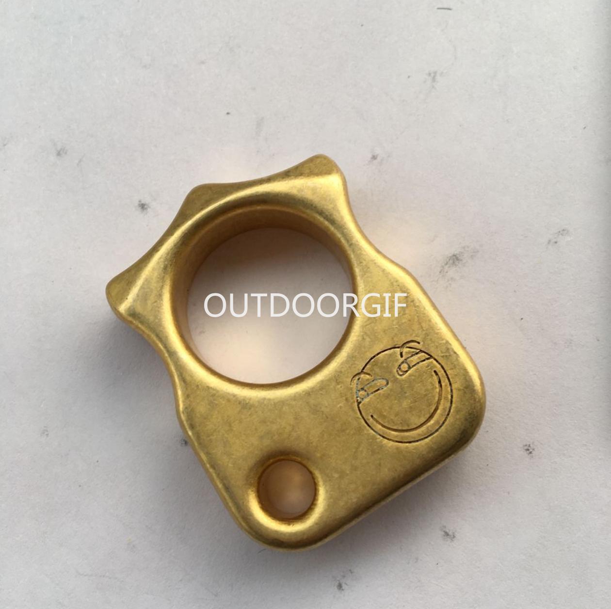 EDC Brass Porte-clés Anneau tactique extérieur Autodéfense survie Outil HZ-50 voitures Camping familial Multisport Voyage Stonewash