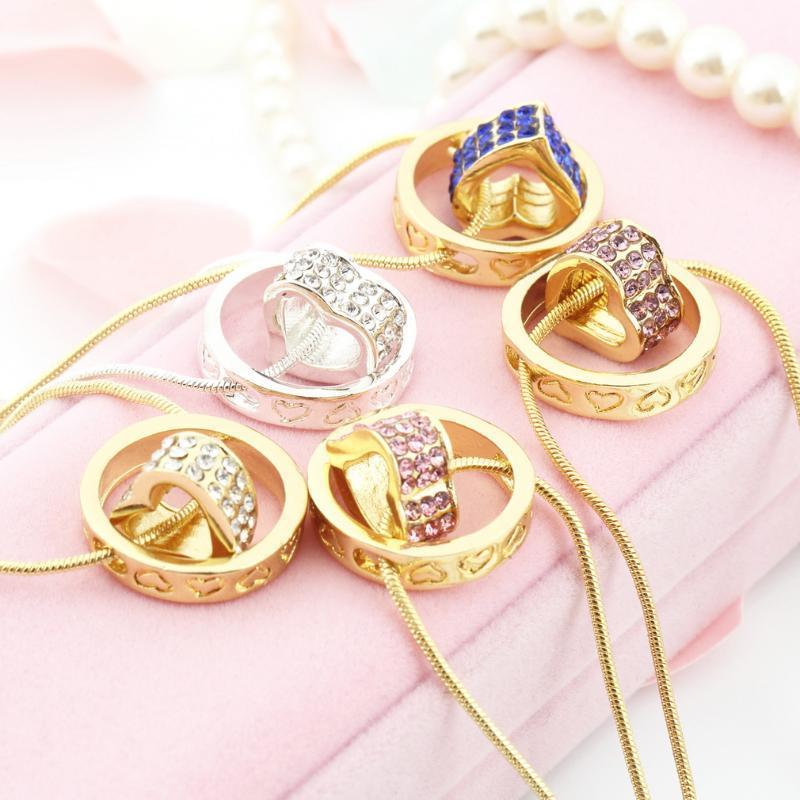 Cristal de la chaîne des femmes strass amour cadeau Collier pendentif coeur 5 styles gros # 2