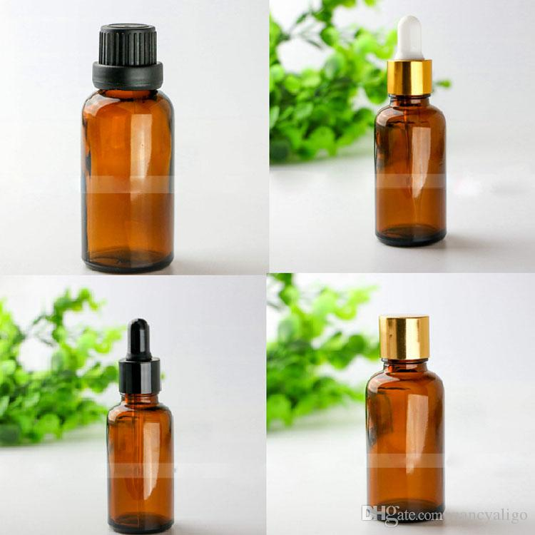 Wholesale Amber Glass Dropper Bottles 30ml Dropper Essential Oil Glass Bottle 1OZ Cosmetic Glass Container with 5 Style Lids