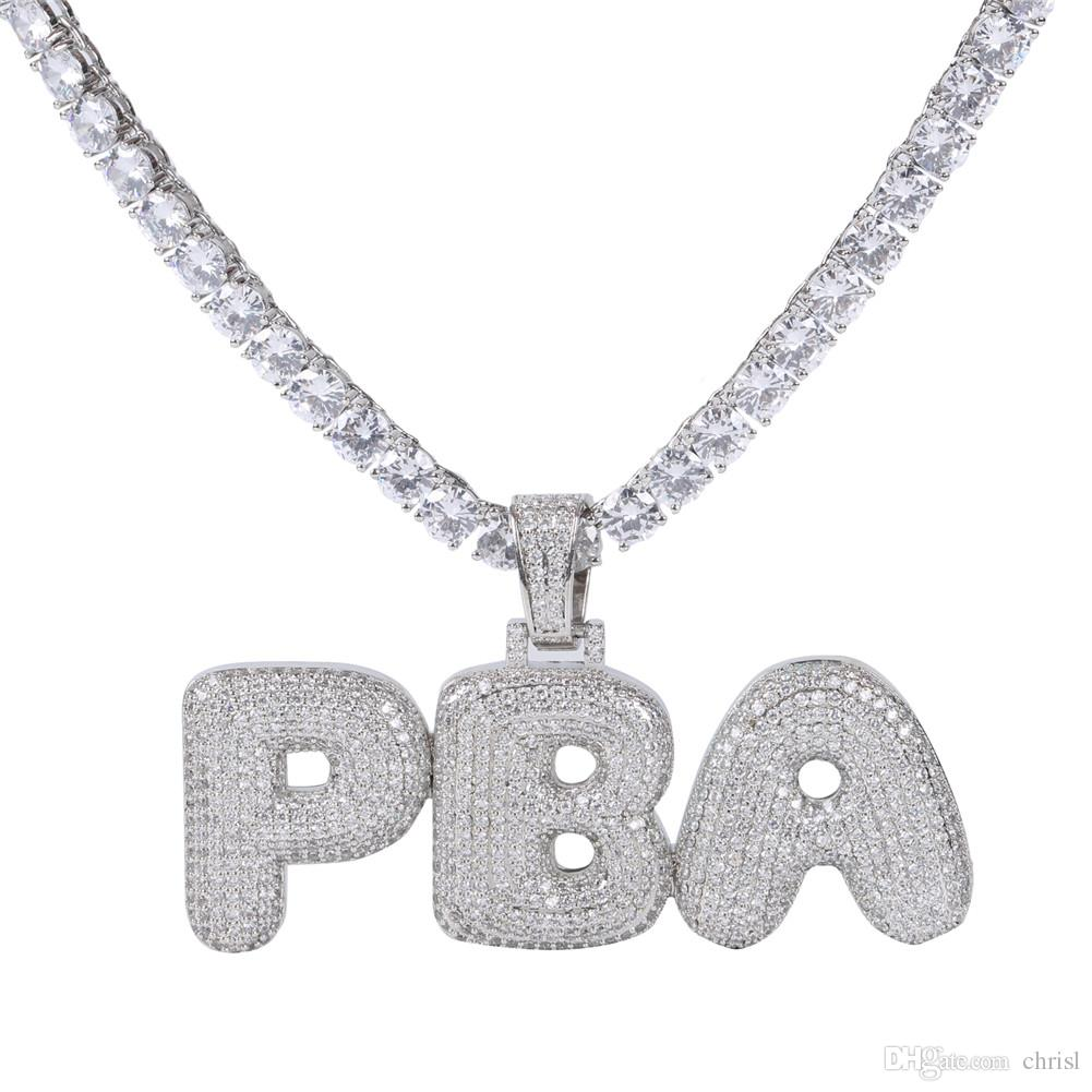 A-Z Custom Name Letters Name Necklaces & Pendant Charm For Men Women Gold Silver Color Cubic Zirconia with Rope Chain Gifts
