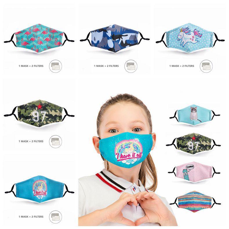 Bambini Maschera digitale Stampato lavabile antipolvere maschere riutilizzabili Respiratore con 5 strati Attivato CCA12156 Carbon Filter Designer Mask