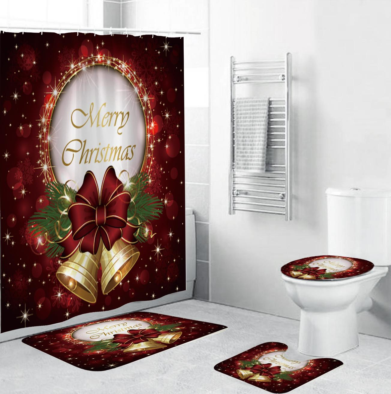 9 Waterproof Christmas Bathroom Accessories Sets Shower Curtain+Bath Mat  +Toilet Seat Cover+ Pedestal Rug Bathroom Sets From Gl9, $9.9