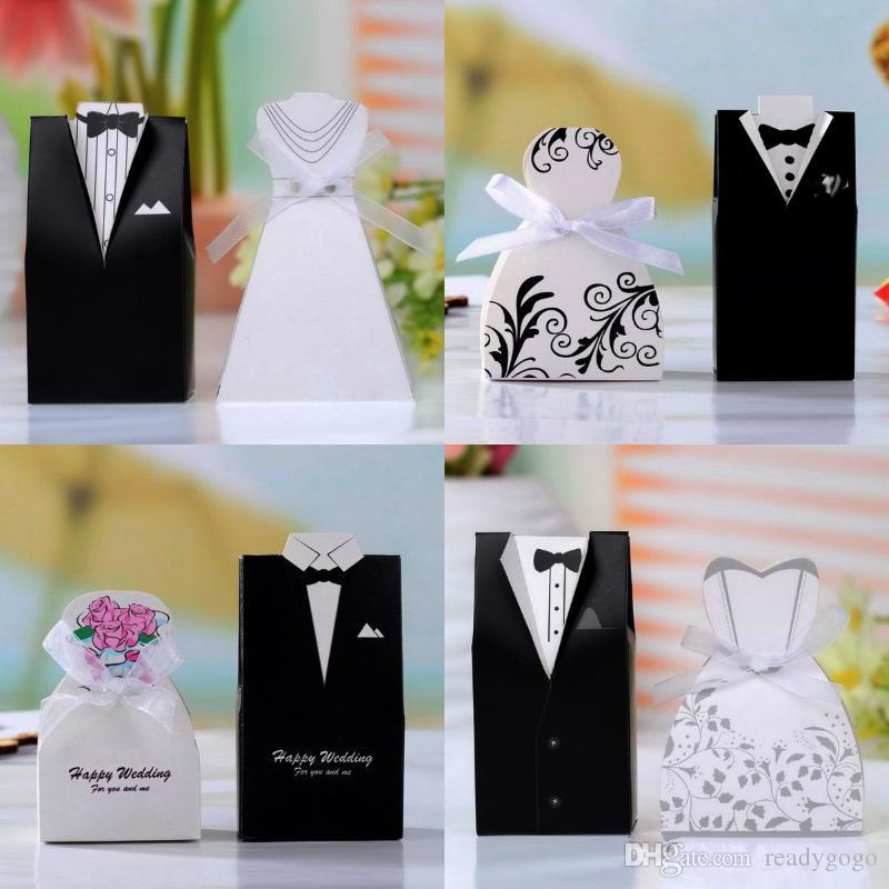 DIY Cute Bride And Groom Wedding Favors Sets Candy Box Wedding Gifts Packaging For Guests Wedding Supplies Bridal Shower Box Favors Holders