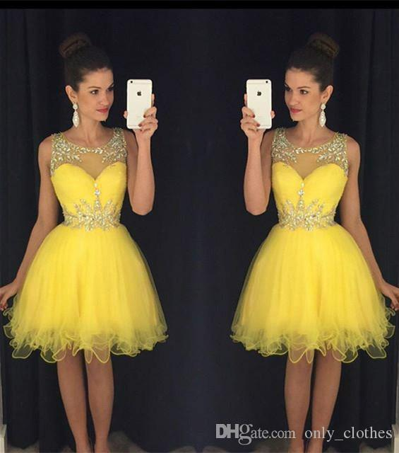 New Yellow Homecoming Dresses Sheer Crew Neck Beaded Crystals Tulle Short Mini Prom Gowns vestido formatura curto Cocktail Dresses