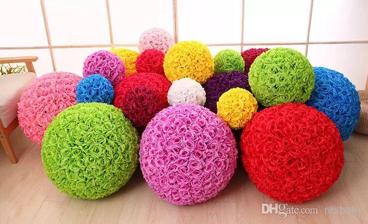 Rose balls 6~24 Inch(15~60CM) Wedding silk Pomander Kissing Ball decorate flower artificial flower for wedding garden market decoration