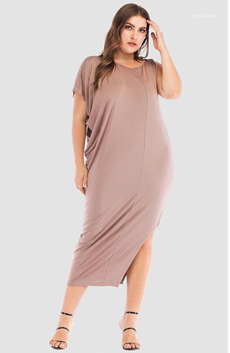 Frauen-Kleider O-Ansatz Schulter-lange Kleid-Frauen-beiläufiges Kleid weibliche Kleidung Plus Size Sommer