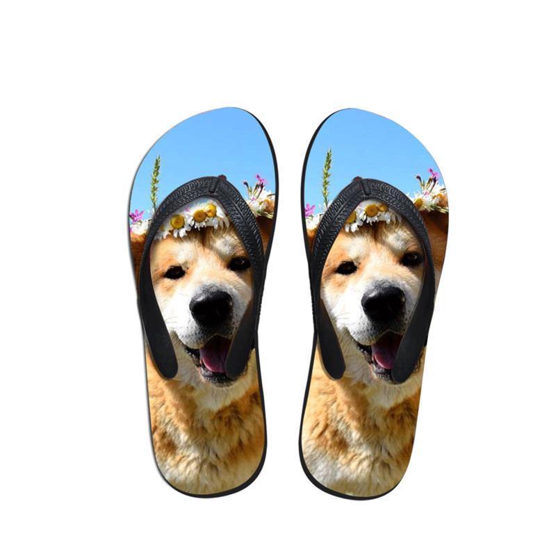 Новые шлепанцы 2019 мода повседневная летний пляж для женщин тапочки сандалии квартиры обувь интересная Акита собака творческий принт