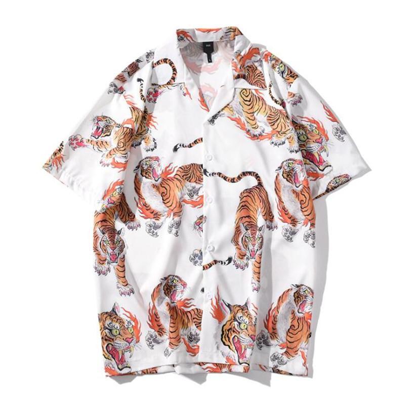 Shirt estampadas Hip Hop Camisa Homens Mulheres New Verão dos homens Streetwear Camisas Casual para homens S M L XL XXL