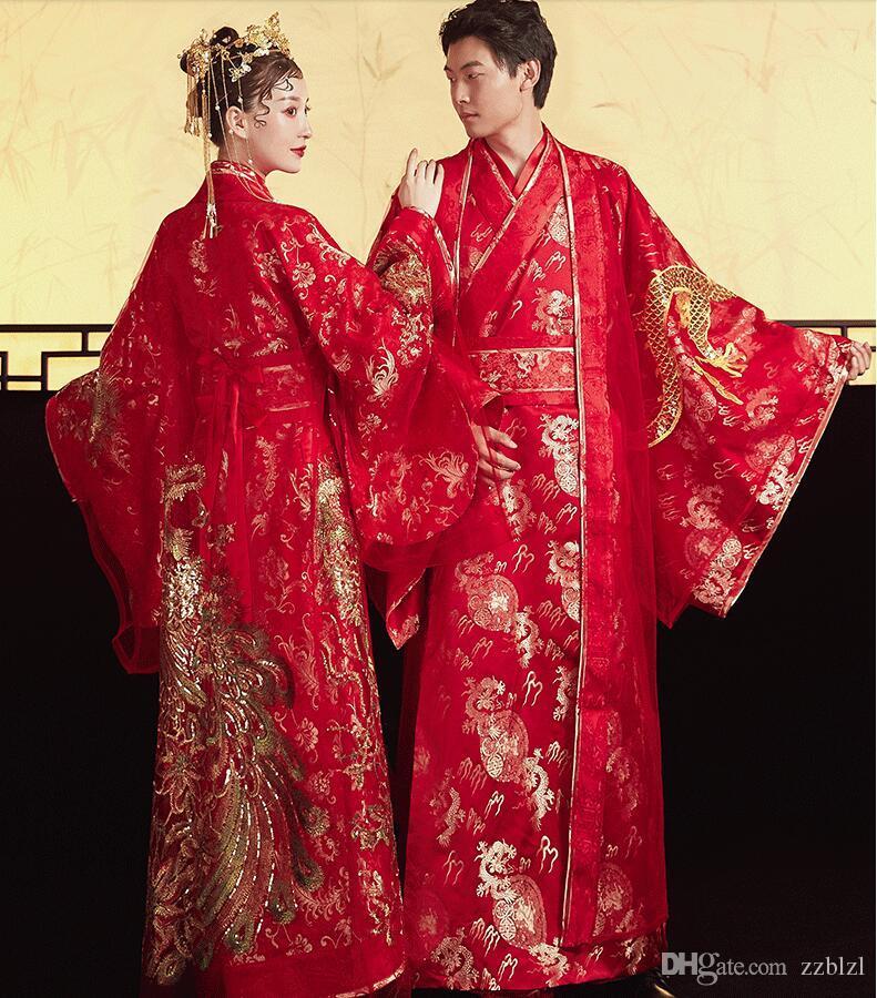 stile cinese standard Cina antica dinastia Tang Abbigliamento Hanfu abito da sposa Abbigliamento Donna sposa Phoenix vestito degli uomini sposo Drago Robe
