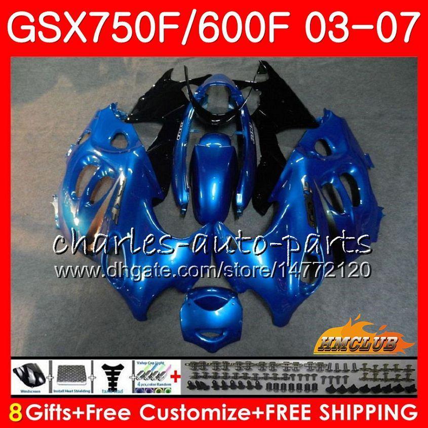 Body Kit voor Suzuki Katana GSXF600 GSXF750 Blauw Zwart 03 04 05 06 07 3HC.28 GSX750F GSX600F GSXF 750 600 2003 2004 2005 2006 2007 Kuip