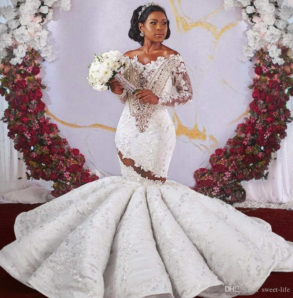 2020 Luxe africaine Dubaï style sirène robes de mariée en perles cristaux trompette Encolure dos nu manches longues Appliqued Robes de mariée