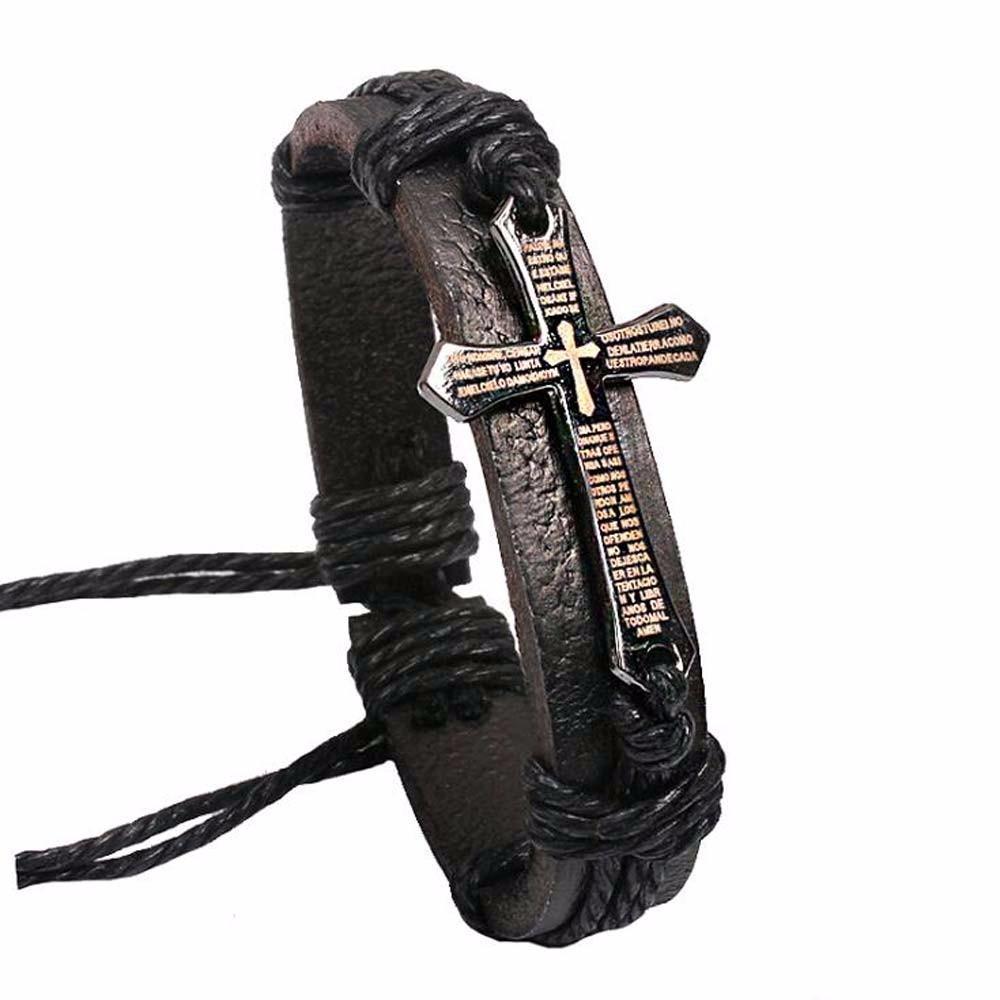 Novo Homens Mulheres Moda Couro Jóias Vintage Pulseiras Bangles Metal Cross Jesus Charm Bracelet Cord Wax ajustável Bracelet