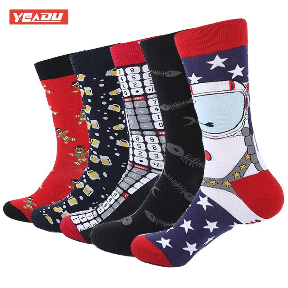 YEADU 5 Pair/Lot Funny Men's Colorful Combed Cotton Fashion Socks Alien Cat Beer Casual Party Dress Socks Men